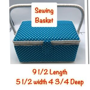 Sewing Basket Blue With White Polka -dots Tray
